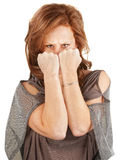 Mad Woman Hiding Behind Fists Stock Photo