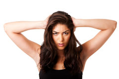Mad woman holding head royalty free stock image