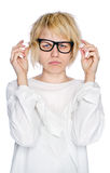 Mad woman isolated on white background stock photo