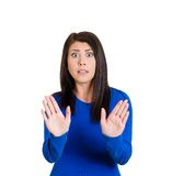 Mad woman raising hands Stock Photo