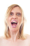 Mad woman shouting loud Stock Photo