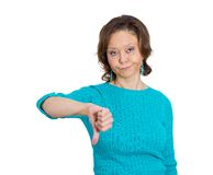 Mad woman, thumbs down Royalty Free Stock Photo