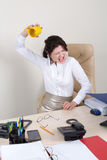 Mad woman wants to throw cup Stock Photos