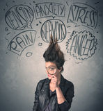 Mad young woman with extreme haisrtyle and speech bubbles Stock Photos