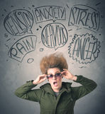 Mad young woman with extreme haisrtyle and speech bubbles Royalty Free Stock Images