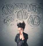Mad young woman with extreme haisrtyle and speech bubbles Stock Images