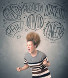 Mad young woman with extreme haisrtyle and speech bubbles Stock Image