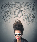 Mad young woman with extreme haisrtyle and speech bubbles Stock Photo