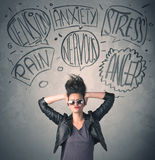 Mad young woman with extreme haisrtyle and speech bubbles. Concept on background royalty free stock image