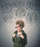 Mad young woman with extreme haisrtyle and speech bubbles Royalty Free Stock Photography