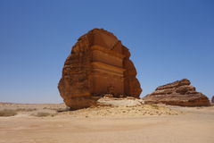 Mada'in Saleh (4). Nabatean single standing tomb in Mada'in Saleh Stock Images