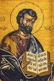Madaba för kyrka för evangeliumförfattareMark Mosaic Saint George ` s Jordanien arkivfoton