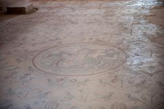 Apostle's church in Madaba. MADABA, JORDAN - APR 28, 2014:  Mosaic on the floor in the Apostle's church in Madaba, Jordan. Madaba is called 'the city of Mosaics Royalty Free Stock Photography