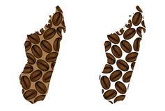 Madagáscar - mapa do feijão de café ilustração royalty free