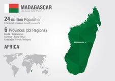 Madagascar światowa mapa z piksla diamentu teksturą Zdjęcia Stock