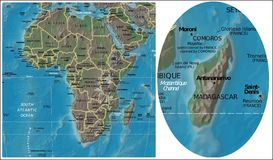 Madagascar and Africa maps Stock Image