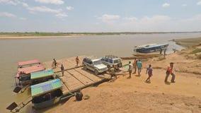 Car unloading from ferry at Tsiribihina Madagascar. Madagascar - 17 August 2016: Car unloading from ferry at Tsiribihina Madagascar stock video
