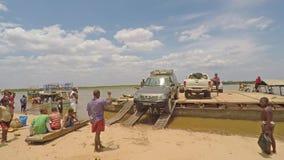 Car unloading from ferry at river Tsiribihina in Madagascar. Madagascar - 21 August 2016: Car unloading from ferry at Tsiribihina Madagascar stock video