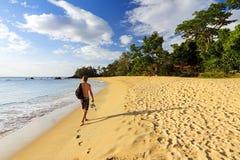 Madagascar beach. Young man on a beautiful isolated tropical beach in Masoala, Madagascar Stock Photo