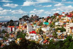 Madagascar. Buildings of a city of Antananarivo in sunny day. Madagascar Royalty Free Stock Photography