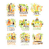 Madagascar, Crete, Bali, Seychelles, Ibiza, Jamaica resort set for label design. Summer beach tourism and rest vector. Illustrations for stickers, banners Stock Photography