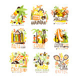 Madagascar, Crete, Bali, Seychelles, Ibiza, Jamaica resort set for label design. Summer beach tourism and rest vector. Illustrations for stickers, banners Stock Photo