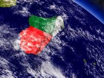 Madagascar with embedded flag on Earth Stock Photos