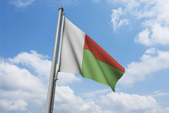 Madagascar Flag with Clouds Stock Photo