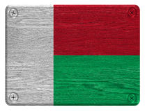 Madagascar flag. Painted on wooden tag Stock Photography