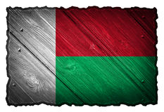 Madagascar flag. Painted on wooden tag Royalty Free Stock Photos