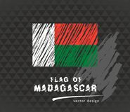 Madagascar flag, vector sketch hand drawn illustration on dark grunge background. Vector sketch map of the Madagascar with flag, hand drawn chalk illustration Stock Photo