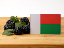 Madagascar flag on a wooden panel with blackberries isolated on. A white background Royalty Free Stock Photo