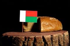 Madagascar flaga na fiszorku z chlebem fotografia royalty free