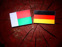 Madagascar flaga z niemiec flaga na drzewnym fiszorku odizolowywającym obraz royalty free