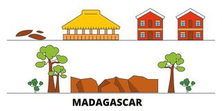 Madagascar flat landmarks vector illustration. Madagascar line city with famous travel sights, skyline, design. Madagascar flat landmarks vector illustration vector illustration