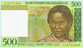 Madagascar franc banknote  Stock Photos