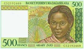 Madagascar franc banknote. Details of a Madagascar 500 franc paper banknote Stock Photos