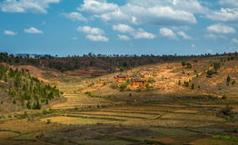 Madagascar höglands- landskap Arkivfoto