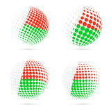 Madagascar halftone flag set patriotic vector. Madagascar halftone flag set patriotic vector design. 3D halftone sphere in Madagascar national flag colors  on Stock Photo