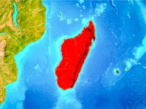 Madagascar in red on Earth Stock Photography