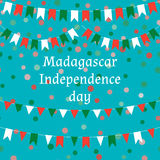 Madagascar independence day,  illustration, carnival colorful pattern. Festive background with bright ribbons and confetti,. Party decor Stock Photography