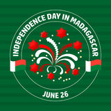 Madagascar Independence Day label on green. Vector. Royalty Free Stock Images