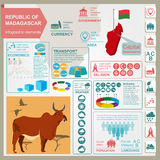 Madagascar infographics, statistical data, sights.  Royalty Free Stock Images