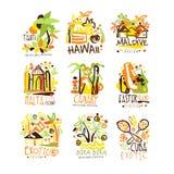 Madagascar, Kreta, Bali, Seychellen, Ibiza, Jamaïca-toevlucht plaatste voor etiketontwerp Het toerisme van het de zomerstrand en  royalty-vrije illustratie