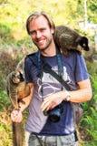Madagascar lemur tourist Royalty Free Stock Photo