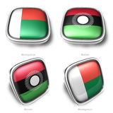 Madagascar and Malawi 3d metallic square flag button Stock Photo