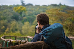 Madagascar. Man taking a picture of forest in Madagascar Stock Photography