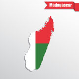 Madagascar map with flag inside and ribbon Stock Images