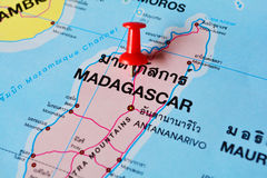 Madagascar map. Macro shot of madagascar map with push pin Stock Photo