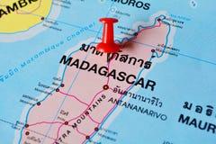 Madagascar map. Macro shot of madagascar map with push pin Stock Photo